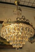 Antique Vnt. French Basket Style Crystal Chandelier Lamp Light 1940and039s