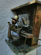 """Vintage Copper Metal Music Antique Piano And Player 'happy Days Are Here Again"""" +"""