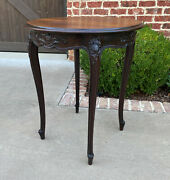 Antique French Round Table End Table Occasional Table Carved Oak Cabriole Legs