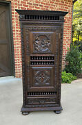 Antique French Breton Armoire Wardrobe Bookcase With Drawer Cabinet Linen Closet