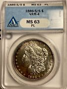 1886-s/s Morgan Dollar Vam-4 Ms63 Proof Like Must Have Key Date Coin
