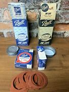 16 Zinc Caps Canning Jar Lids For Mason Jars + 2 Boxes Good Luck Rubber Rings