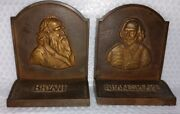 Old Antique William Shakespeare And William Cullen Bryant Metal Bookends Set