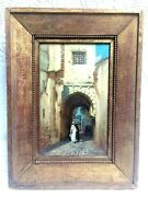 Rare Antique Listed Artist James Cowie Oil On Board In The Arab Quarter Algiers