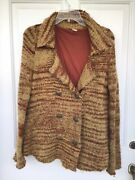 Free Prople Rust And Tan Color Jacket/ Coat Size S, No Pockets, 3 Buttons.