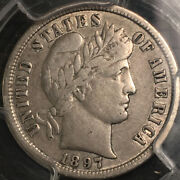 1897-s Barber Dime Pcgs Certified Vf30 Sharp Scarce Date
