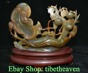 12.4 China Natural Agate Chalcedony Carving Feng Shui Ruyi Peach Luck Statue