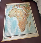 Wwii Rare Beautiful German Large Canvas Map Of Africa Afrika Approx 74x63