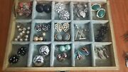 Lot Of 17 Pairs Of Vtg Costume Clip On And Screw Back Earrings In Jewelry Box