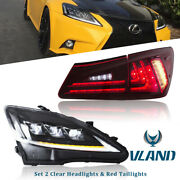 Set 2 Full Led Headlights And Red Tail Lights For 2006-2012 Lexus Is250 Is350 Isf