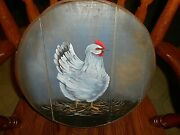 1992 Round Wood Cheese Box - Hand Painted Chicken Hen Signed Chis Bible