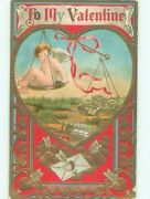 Pre-linen Valentine Cupid On Balance Scale With Gold Coins Ab2822