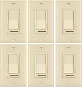 [6 Pack] Bestten Ivory Dimmer Light Switch 3 Way Or Single Pole For Dimmable L