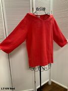 Lt10v Red Small Nwt Match Point Linen Shirt Blouse Vneck Flax Plus