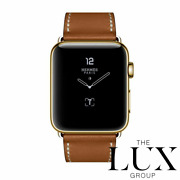 Hermes Series 7 Apple Watch 41mm Single Tour Fauve 24k Gold Plated In Hand