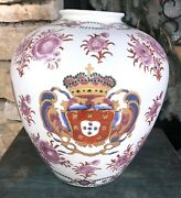 Antique 19th C. French Armorial Chinese Export Samson Style Porcelain Vase
