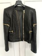 Balmain Black Quilted Leather Jacket Fr40