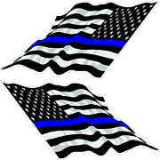 Thin Blue Line / American Flag Decals Race Boat/bow Flags