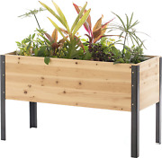 Gardenised Elevated Outdoor Raised Rectangular Planter Bed Box Solid Wood With