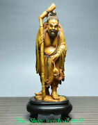 9 Old China Natural Shoushan Stone Carved Stand Fisherman Fisher Figure Statue