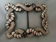 Vaquero Style Sterling Silver Inlay Rattle Snake Design Belt Buckle - Black