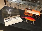 Mint Vintage 1960s Bomber Wood Fishing Lure In Box 617 Red Yellow Black Stripe