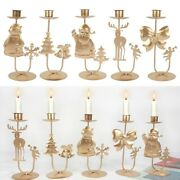 Christmas Candlestick Table Candle Holder Metal Ornaments Table Art Decorations