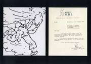 Herge Comics Autograph Typed Letter Signed And Mounted