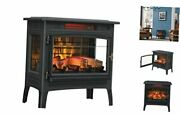 3d Infrared Electric Fireplace Stove With Remote Control - Portable Black