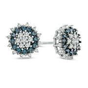 1/2 Ct Blue And White Diamond Cluster Shadow Stud Earrings In 9k White Gold -igi