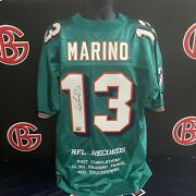 Dan Marino Miami Dolphins Teal Record Holder Jersey Autographed Uda