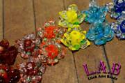 2pc Large 20mm Handcrafted Fine Murano Lampwork Glass Flower Beads - Lw272