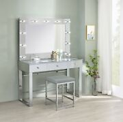 Modern Vanity Set Makeup Table And Stool Hollywood Mirror Clear Glass Top - Chrome