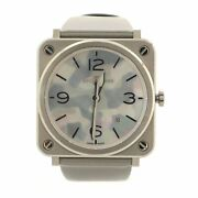 Bell And Ross S Grey Camouflage Quartz Watch Stainless Steel And Satin Leather