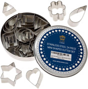 Mini Cookie Cutter Shapes Set - 24 Small Molds To Cut Out Pastry Dough, Pie Crus