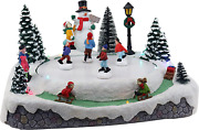 Christmas Village Skating Pond Animated Lighted Musical Snow Village Perfect Add