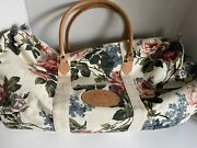 Vintage Express French Country Extra Large Canvas Tote Bag Cottage Rose
