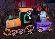 8 Foot Long Lighted Halloween Inflatable Grim Reaper Ride Train With Tombstone