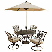 Traditions 5-piece Outdoor Swivel Chair Dining Set With Table Umbrella
