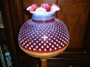 Fenton Cranberry Hobnail Opalescent Glass 10 Rufled Lamp Shade, Perfect