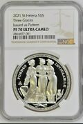 2021 St. Helena Sandpound5 | Three Graces Crown Pattern | 1oz Silver Coin | Ngc Pf70 Uc