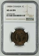 1900 H One Large Cent Penny 1c Canada Ngc Ms64 Bn Ships Free