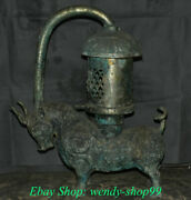 22 Old Chinese Bronze Ware Dynasty Parrot Portable Bull Oxen Palace Lantern