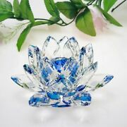 Quartz Crystal Lotus Flower Crafts Glass Paperweight Fengshui Ornaments Figurine