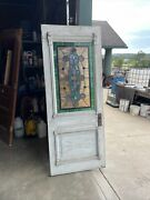 An651 Antique Stained Glass Carved Entrance Door 31.75 X 79 X1 5/8