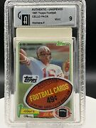 1981 Topps Football Joe Montana Rookie Card On Top Of Cello Pack Pack Graded 9