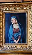 Beautiful 19th Century And039 Dolorosaand039 Oil Painting On Copper In Wooden Frame Spain