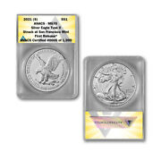 2021 S American Silver Eagle Type 2 Ms70 - Supplemental Ase Production Fr