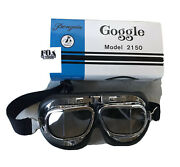 Penguin 2150 Goggles Motorcycle Snowboard Pilot Flying Black Chrome Clear Nib