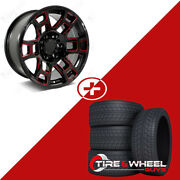 17 Red Milled Wheels -10 Offset W/tires Fits Toyota Tacoma 4runner Fj Cruiser